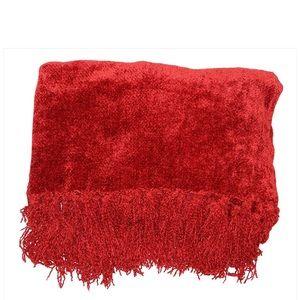 Martha Stewart Chenille Fringe Throw-NWT-RED